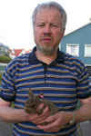 Jens-Kjeld with the young hare from Oyri.